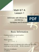 Math 76 Lessons 1 Through 5