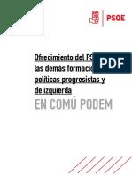 Documento Oferta PSOE a En Comú Podem