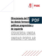 Oferta DEL PSOE a IU-UP