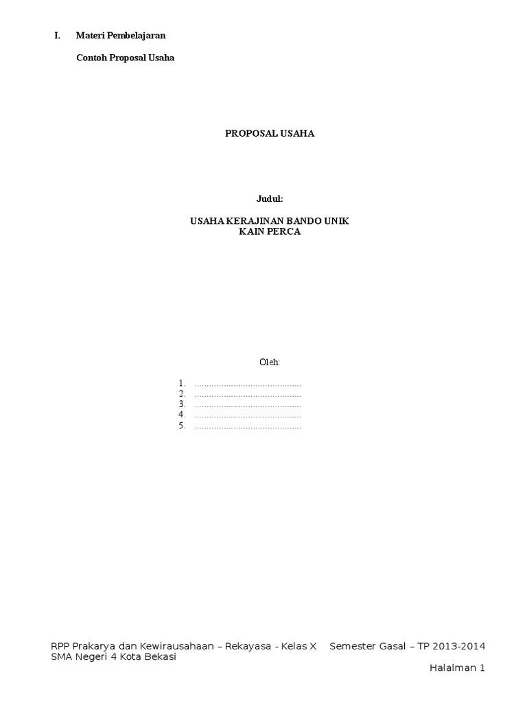 Proposal Usaha Prakarya Prakarya Sma Kelas X