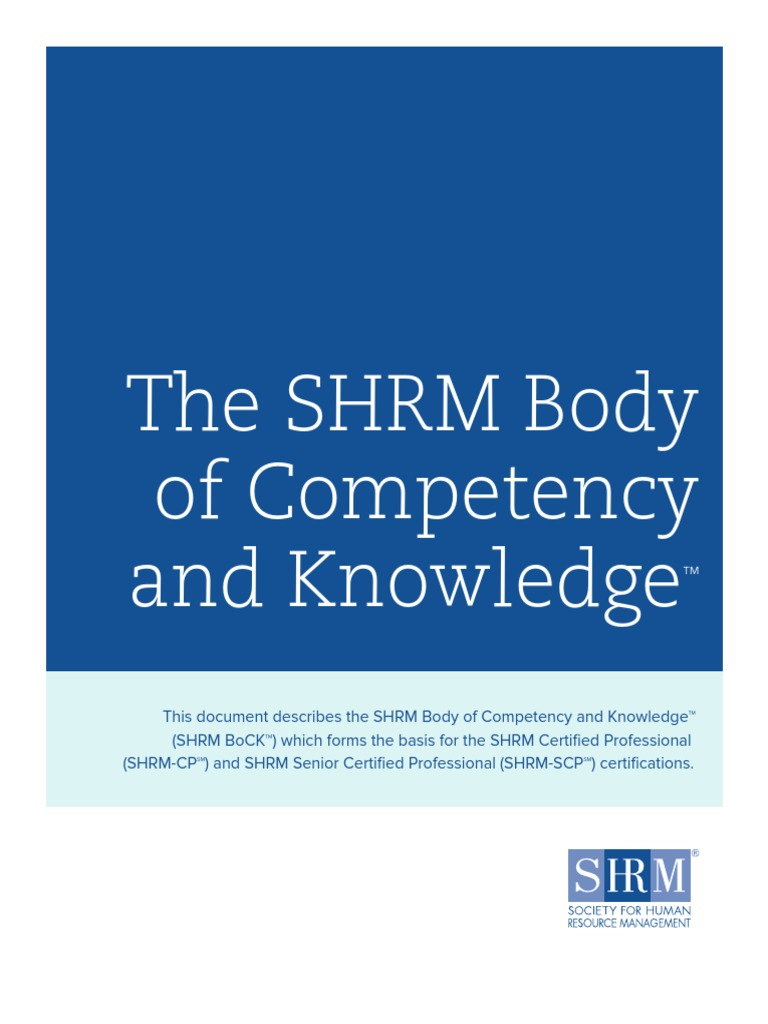 Shrm Bock Final Competence Human Resources Human Resource