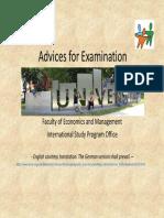 Advice for Examination 2012