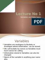 Lecture No 1