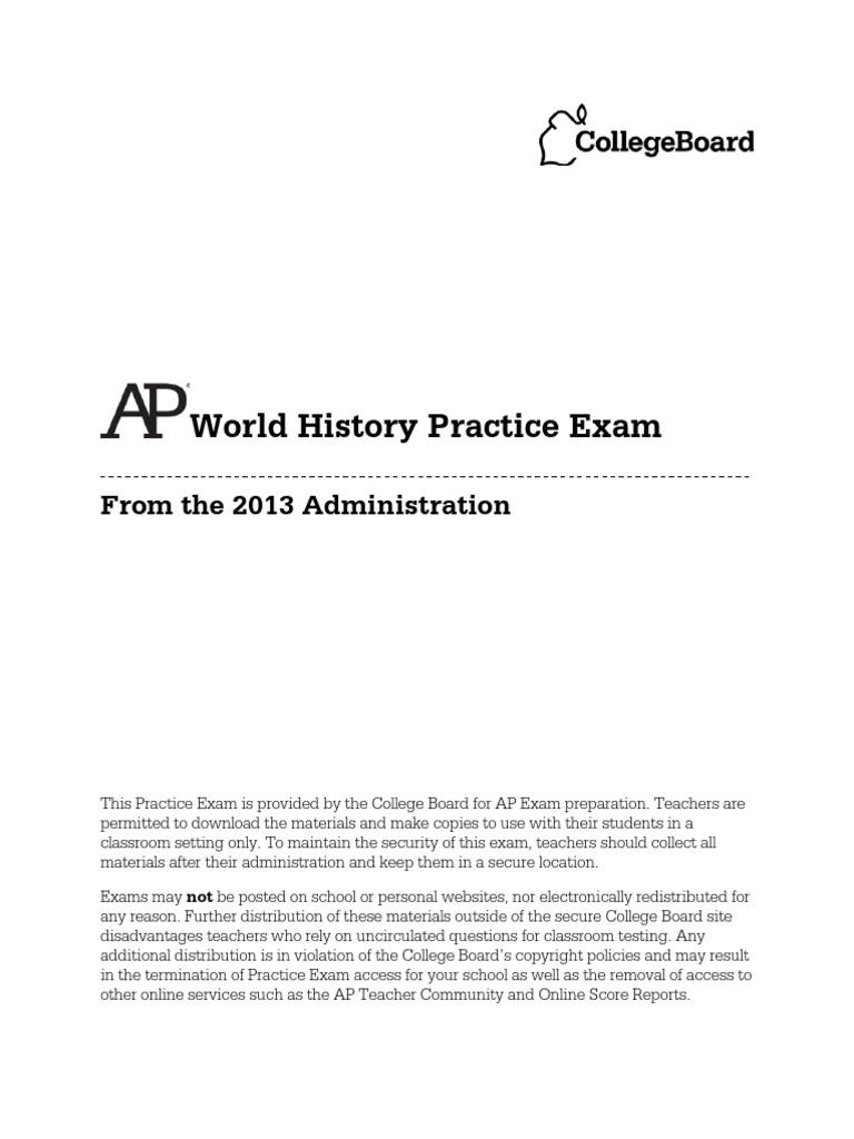 ap world history exam essay questions 2013