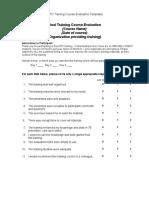 Training Evaluation Form 3
