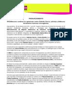 PRONUNCIAMIENTO IM-Defensoras condena las agresiones contra Gabriela García, activista y defensora de derechos humanos nicaragüense 29022016