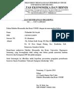Surat Keterangan Tdk Menerima Beasiswa Ristek 2015