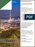 Taiwan Pre-Travel Guide