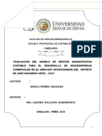 """Informe Final """"EVALUACIÓN DEL MODELO DE GESTIÓN ADMINISTRATIVA CONTABLE PARA EL DESARROLLO DE MICROEMPRESAS COMERCIALES EN EL MERCADO MOSHOQUEQUE DEL  DISTRITO DE JOSÉ LEONARDO ORTIZ – 2010"""""""