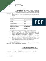 Affidavit to Claim Vehicle Insurance