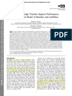 How Knowledge Transfer Impacts Performance a Multilevel Model of Benefits and Liabilities