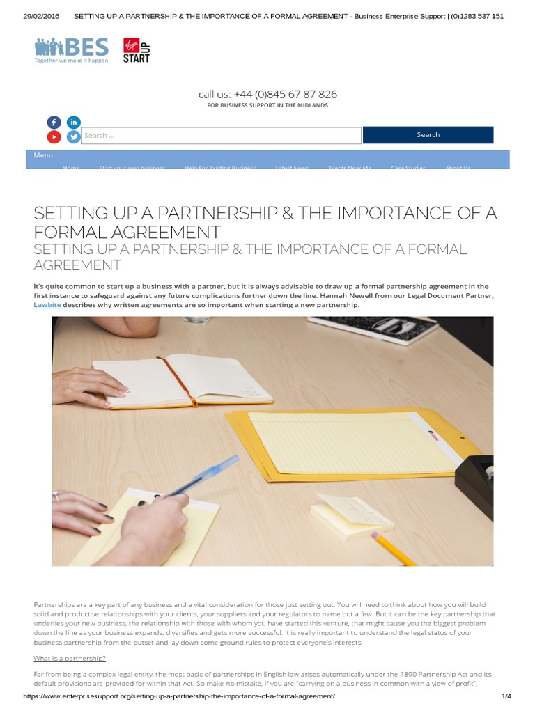 Setting Up A Partnership The Importance Of A Formal Agreement