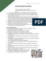 lab report evaluation