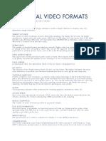 Digital Video Formats (Definitions)