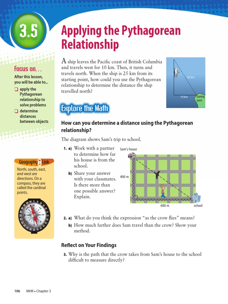 Book 3 5 Applying The Pythagorean Relationship | Triangle | Elementary  Geometry