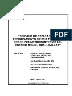 Servicio de Reparación y Reforzamiento de Seis Paños Del Cerco Perimetrico Interior Del Estadio Miguel Grau- Callao