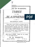 Three of the Blasphemies of the Millenial Dawn by EB Hartt, 1905
