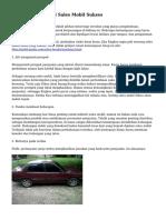 Trik untuk Sebagai Sales Mobil Sukses