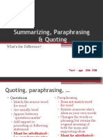 summarizing paraphrasing quotation integration