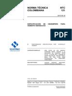 Ntc_121-Especificación de Desempeño Para Concreto Hidraulico