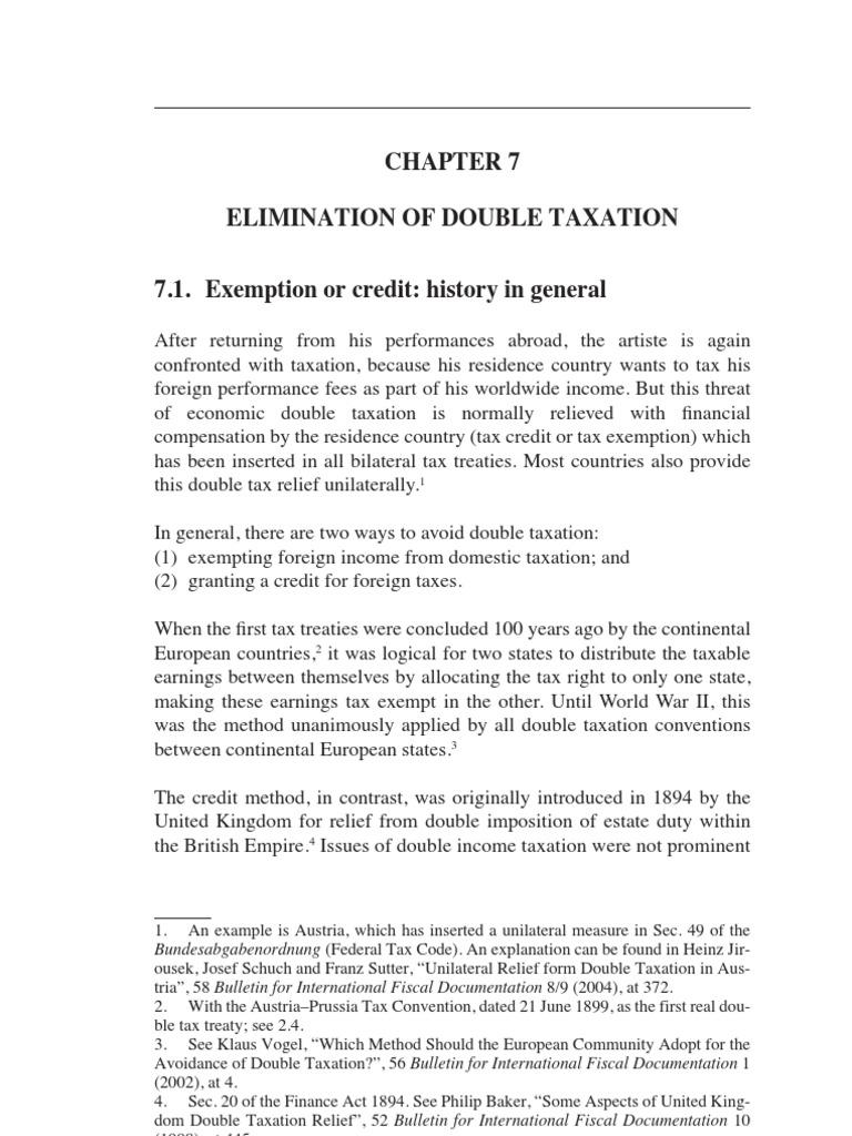 07 Elimination Of Double Taxation Double Taxation Tax Treaty