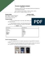 Science Olympiad Forensics Qualitative Analysis