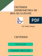 CRITÉRIOS PARA  A ESPIROMETRIA DE BOA QUALIDADE