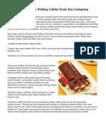 Cara Menghasilkan Puding Coklat Enak dan Gampang