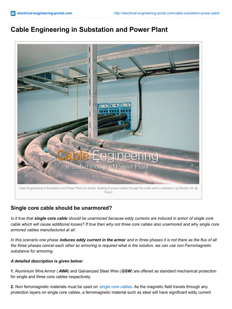 Electrical-Engineering-portal.com-Cable Engineering in Substation ...