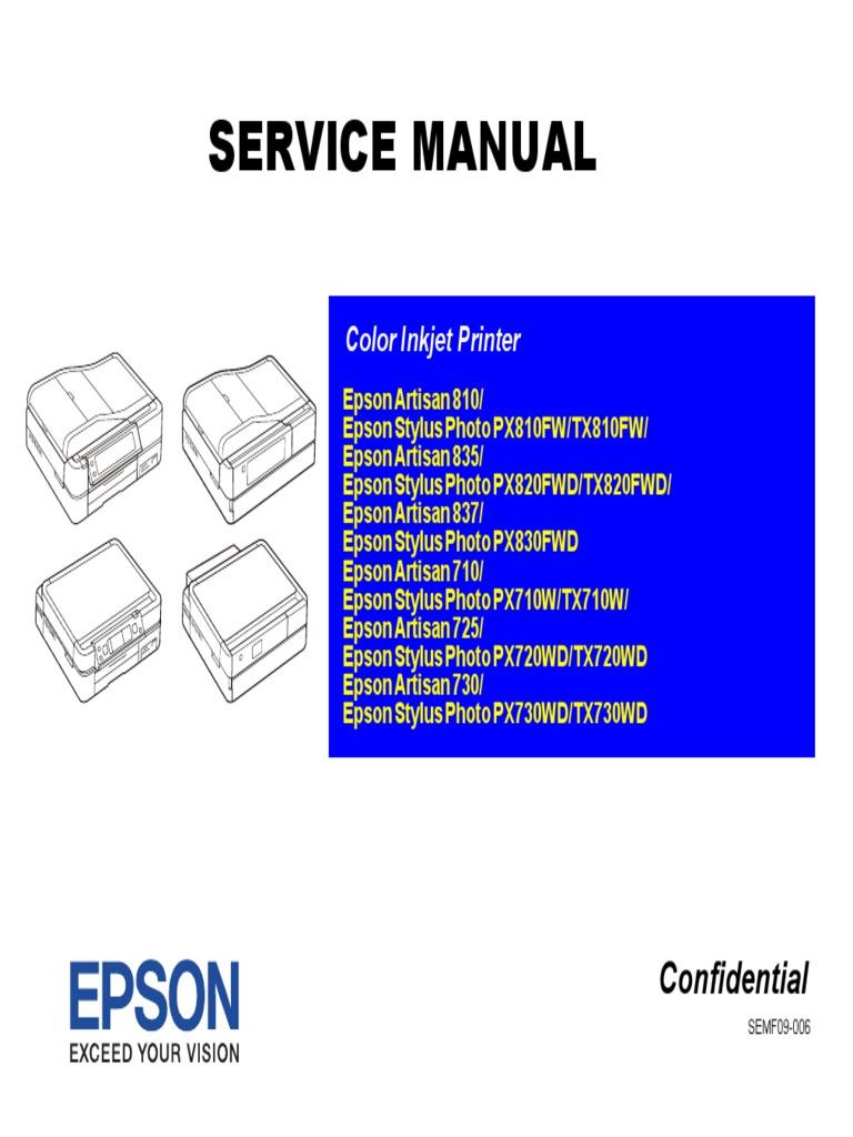 Epson Artisan 710'725'730'810'835'837 StPhoto-PX710w'720wd