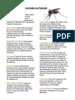 Áreas de Infestação do Aedes Em Salvador