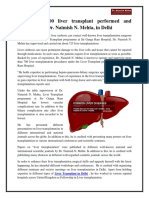 More Than 700 Liver Transplant Performed and Supervised by Dr. Naimish N. Mehta, In Delhi