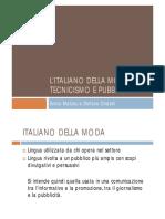 l'Italiano Della Moda Tra Tecnicismo e Pubblicità