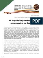 As origens do pensamento escolanovista no Brasil - Ramon Ferreira Santana (2014)