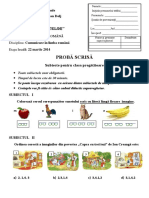 Subiecte Clasa Pregatitoare PDF