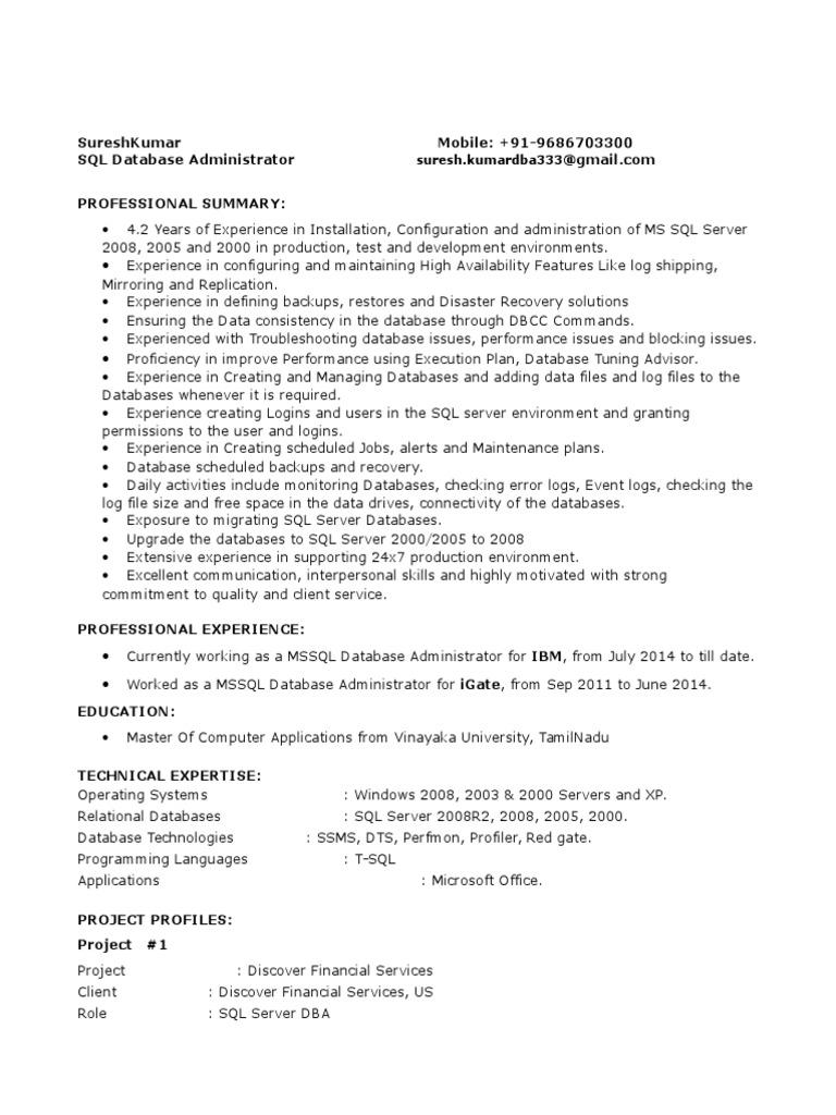 sql dba resume