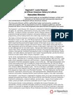 Position Announcement - Reginald F Lewis Museum Executive Director Position Description Final