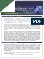 MTS Investment Banking Summer Associate Description