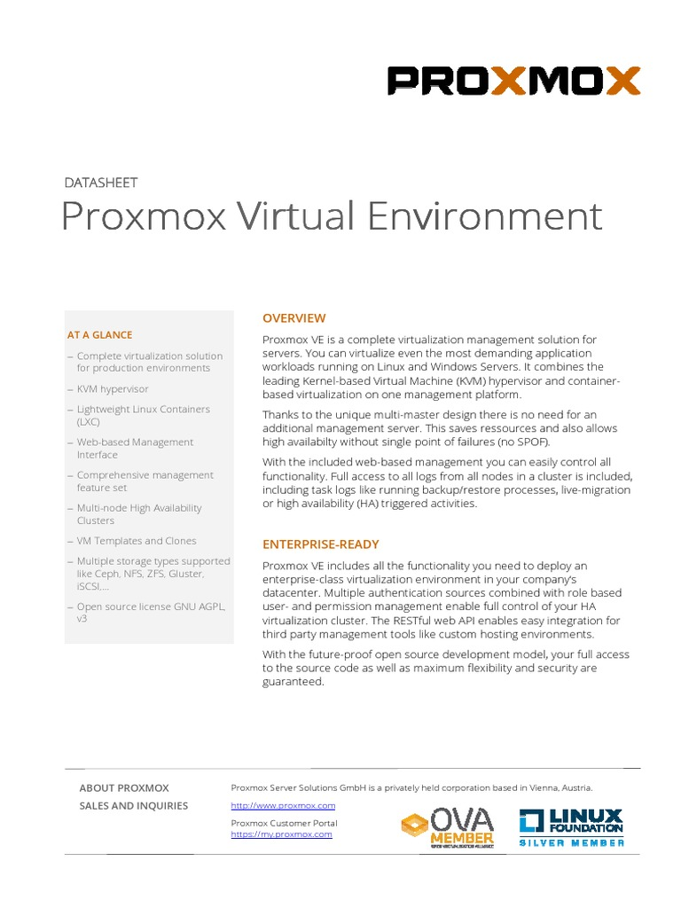 Proxmox VE Datasheet | Computer Cluster | Virtual Machine