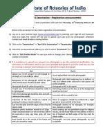 Actuaries India Exam Announcement April 2016