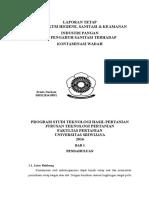 Laporan praktikum uji kontaminasi wadah dan alat pengolahan