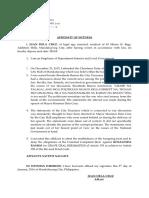 Affidavit of Witness Defense