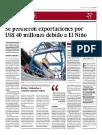 Se perdieron exportaciones por US$ 40 millones debido a El Niño