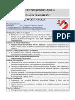 Planes de Gobierno de los diversos candidatos a la presidencia del Perú 2016