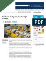 BPJS - Produsen Obat Gusar, Tender BPJS Diulang - 2016
