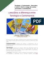 Esoterismo Tarólogo x Cartomante - Descubra as Diferenças Entre o Tarô e o Jogo de Cartas Nas Leituras, Previsões e Orientações