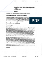 Developm't Sociological Theory - SOC 101 OL1 - Course Syllabus or Other Course-Related Document