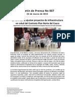 Boletín 007 Se Verifican y Ajustan Proyectos de Infraestructura en Salud Del Contrato Plan Norte Del Cauca