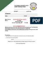 Oliver Agricultural Society Membership/Volunteer Form