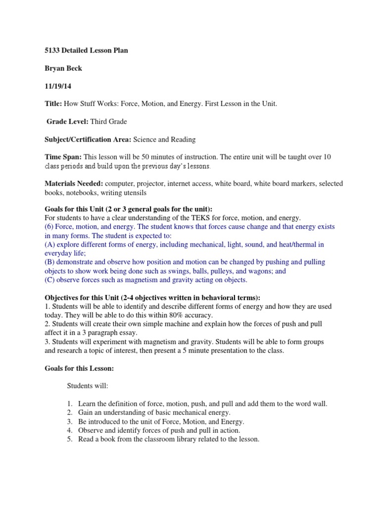 5133 detailed lesson plan | Force | Forms Of Energy